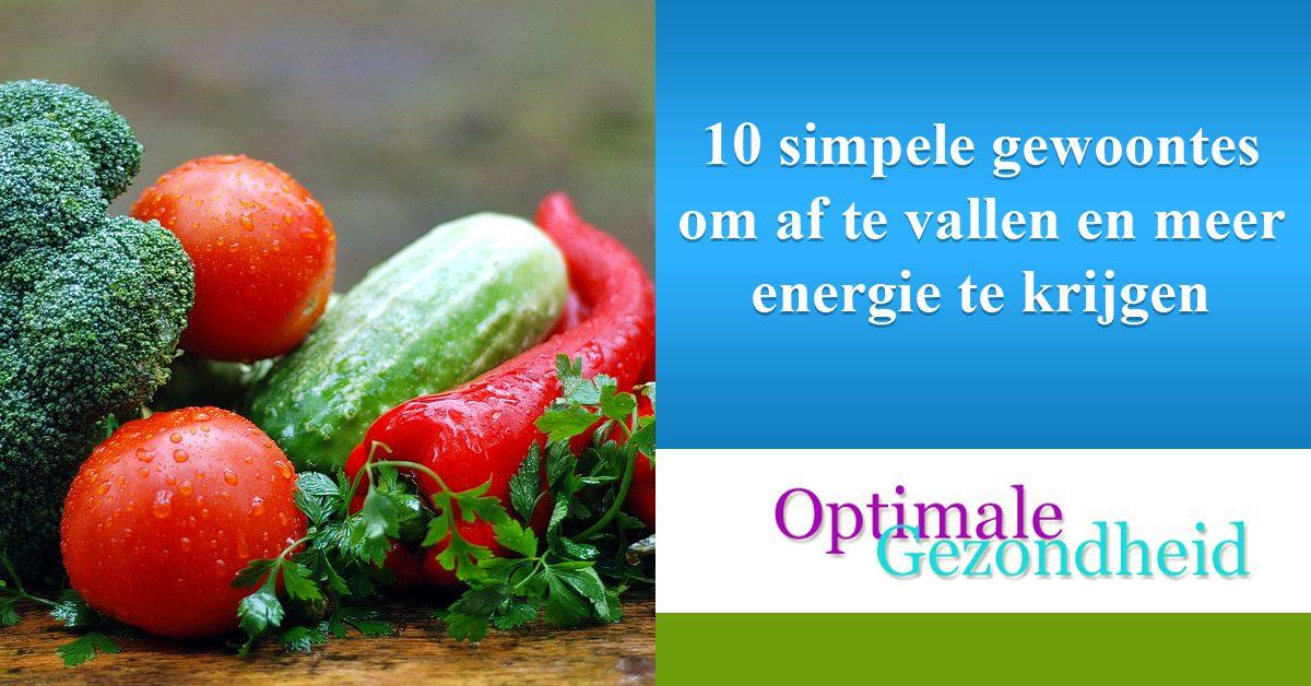 10 simpele gewoontes om af te vallen en meer energie te krijgen