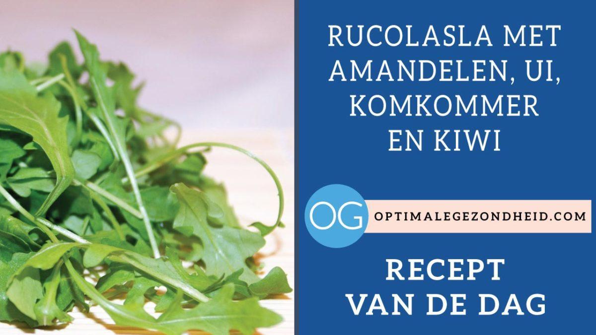 Recept van de dag: Rucolasla met amandelen, ui, komkommer en kiwi