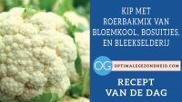 Kip met roerbakmix van bloemkool, bosuitjes, en bleekselderij