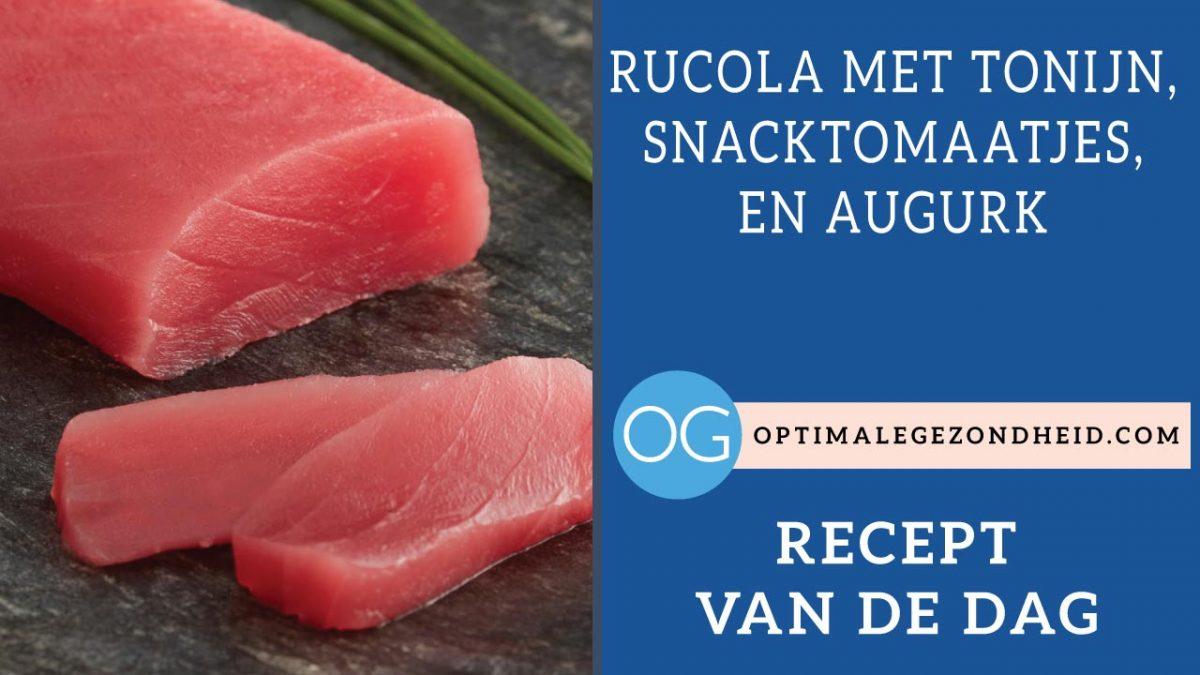 Recept van de dag: Rucola met tonijn, snacktomaatjes, en augurk