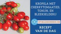 Recept van de dag: Kropsla met cherrytomaatjes, tonijn, en bleekselderij